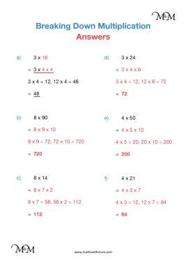 multiplication using factors worksheet answers pdf