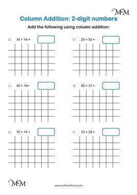 2-digit column addition worksheet pdf
