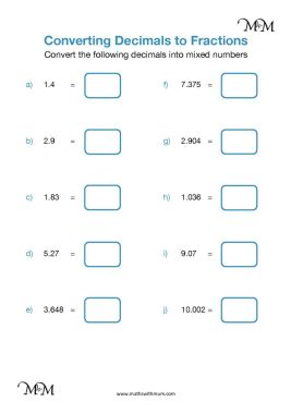 converting decimals to mixed numbers worksheet pdf