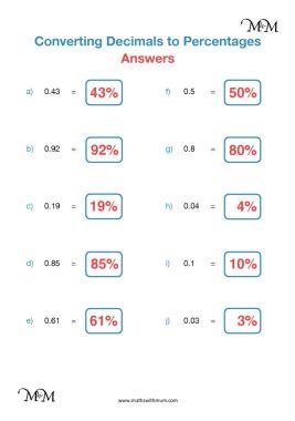 converting decimals to percents worksheet anwers pdf