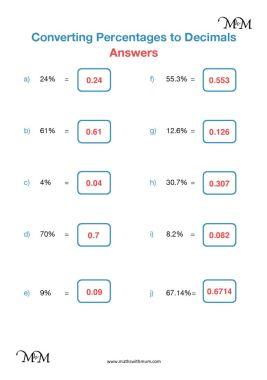percentage to decimal worksheet answers pdf