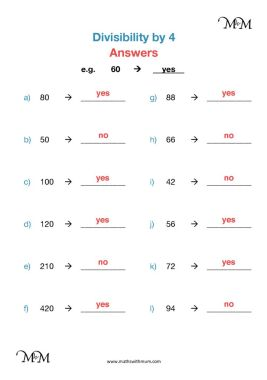 divisibility by 4 worksheet answers pdf