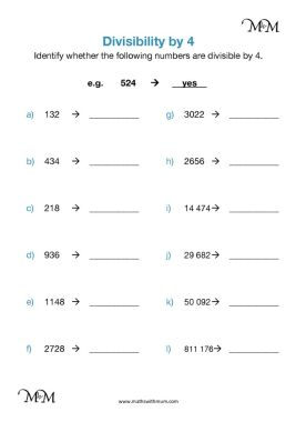 divisibility by 4 worksheet pdf
