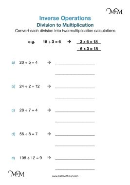 inverse operations division to multiplication worksheet pdf