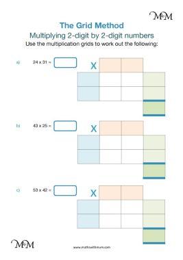 grid method of multiplication 2 digit numbers worksheet pdf