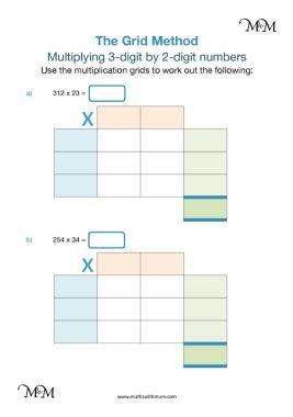 grid method multiplication worksheet pdf