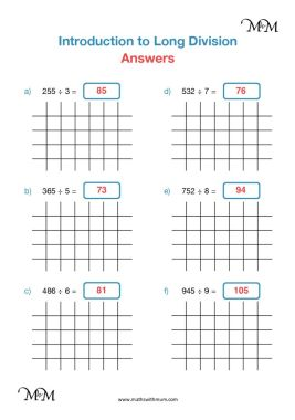 long division by one digit worksheet answers pdf