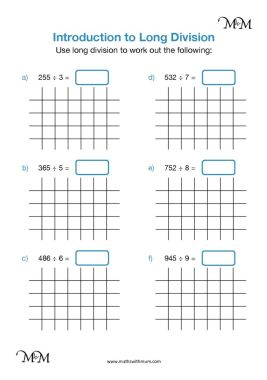 long division by one digit worksheet pdf