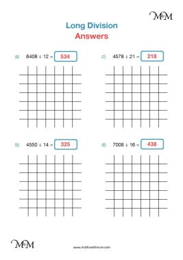 long division by two digits worksheet answers