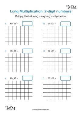 long multiplication 2 digit numbers worksheet pdf