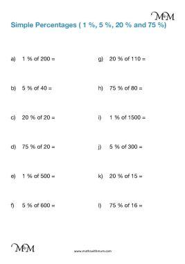 finding basic percentages of amounts worksheet pdf
