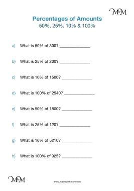 calculating basic percentages of numbers worksheet pdf