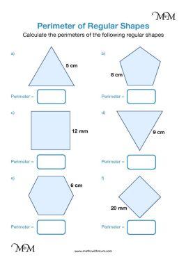 perimeter of regular shapes worksheet