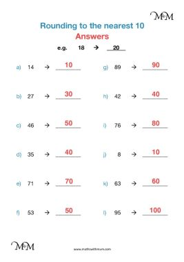 rounding to the nearest ten on a number line worksheet pdf answers