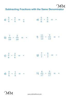 subtracting fractions with like denominators worksheet pdf