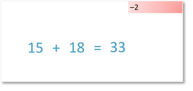 15+18 by adding 20 and subtracting 2 with compensation