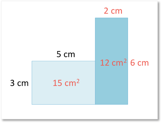 area of a composite shape split into two rectangles