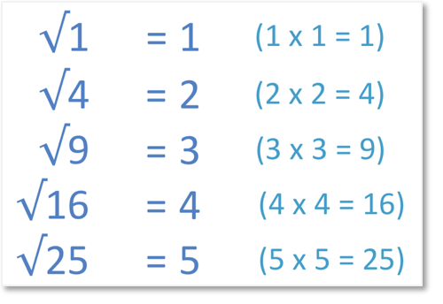 The first 5 perfect square roots