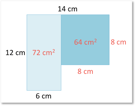 how to work out the area of a composite shape with steps shown