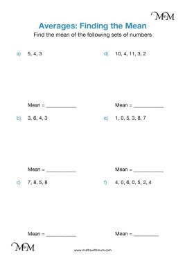 finding the mean worksheet pdf