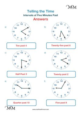 5 minute intervals past the hour on a clock worksheet answers pdf