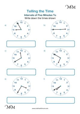 5 minute intervals to the hour worksheet pdf