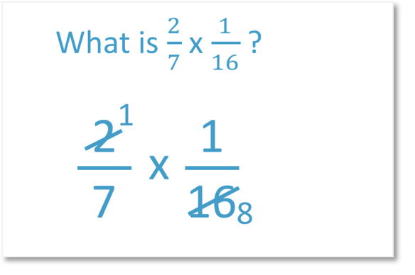 mutliplying fractions two sevenths times one sixteenth by dividing common factors by 2