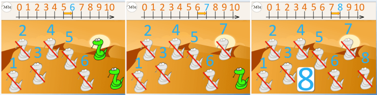 counting eight snake using a number line