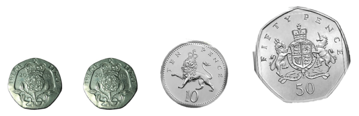 50 pence is the sum of two 20 pence coins plus a 10 pence coin