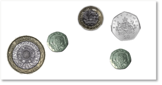 a collection of pound and pence coins
