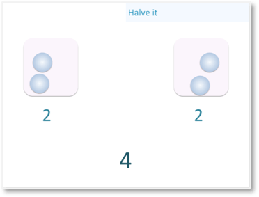 dividing the even number 4 equally into two parts to halve it