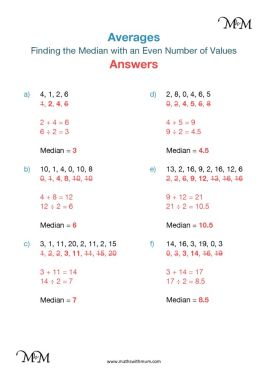 median of an even set of numbers worksheet answers PDF