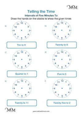 drawing hands on the clock 5 minute intervals to the hour worksheet pdf