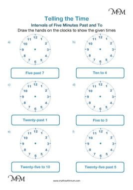 drawing hands on the clock 5 minute intervals to and past the hour worksheet pdf