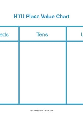 blank Hundreds tens and units place value chart for printing