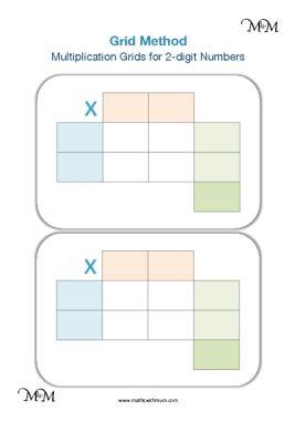 printable blank grid method grids for 2 digit numbers pdf