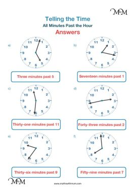 telling the time on a clock worksheet answers pdf