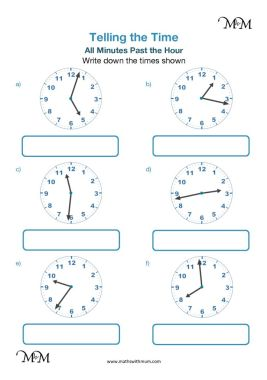 telling the time on a clock worksheet pdf