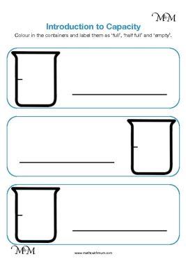 teaching capacity full and empty worksheet pdf