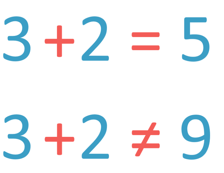 equals not equals sign example in number sentences