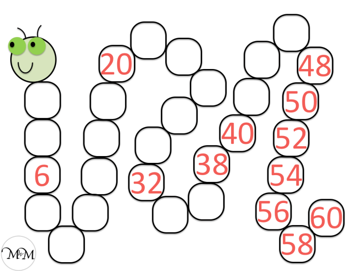 blank skip counting caterpillar for skip counting backwards in twos