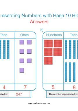 base ten dienes block representing numbers place value worksheet answers pdf HTO
