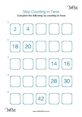skip counting by 2 worksheet pdf