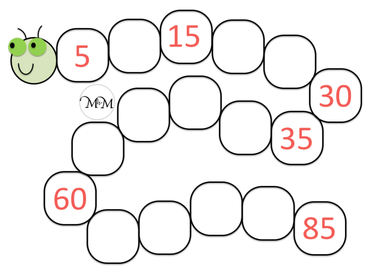 skip counting by five blank caterpillar worksheet