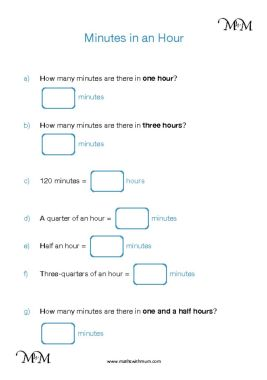 converting minutes  to hours worksheet pdf