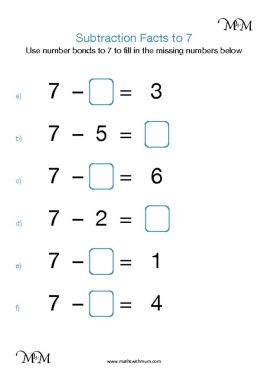 subtraction facts to 7 worksheet pdf