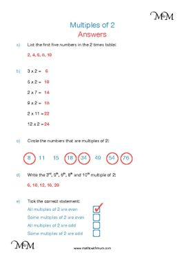multiples of 2 worksheet answers pdf