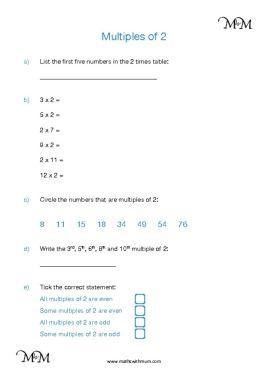 multiples of 2 worksheet pdf