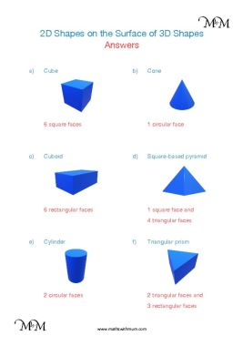 Identifying 2D Shapes on 3D Shapes worksheet answers pdf