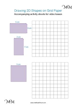 drawing 2d shapes on square grid paper accompanying activity sheet